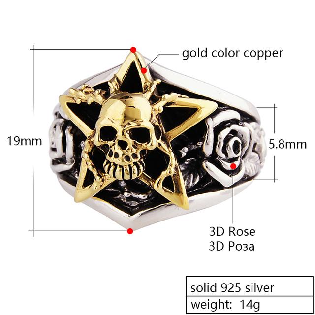 ZABRA Solid 925 Sterling Silver Gold Color Skull Men Ring 3D Rose Mens Rings Punk Vintage Biker Gothic Jewelry Bagues Homme