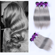 100% Unprocessed Brazilian Human Ombre Hair 1B / Grey Brazilian Virgin Hair Straight 3 Bundles Lot Silver Gray Brazilian Hair