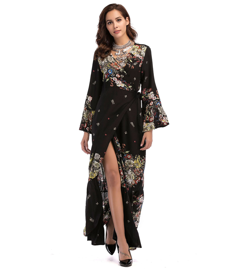 f3b47acd1b674 US $18.23 41% OFF|Maxi Wrap Dress 2018 Spring Summer Women Boho Floral  Beach Party Loose Fashion Long Bohemian Dresses Plus Size-in Dresses from  ...