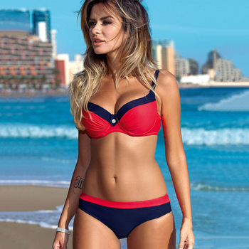 2019 Print Ladies Solid Bikini Set Plus Size Beach Wear Biquini  Sexy Bikinis Push Up Swimsuit Women Halter Top Swimwear 1