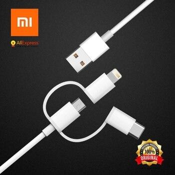 Xiaomi оригинальный 3 в 1 кабель для передачи данных 100 см Micro USB, lightningg, Тип-C официальный Сертификация из Applle для Android и iPhone
