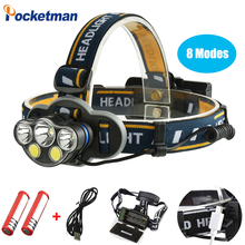 цена на 2019 Amazing 8 Modes LED Headlight White and Red light Waterproof with tail warning light switch Headlamp walking Safer z40