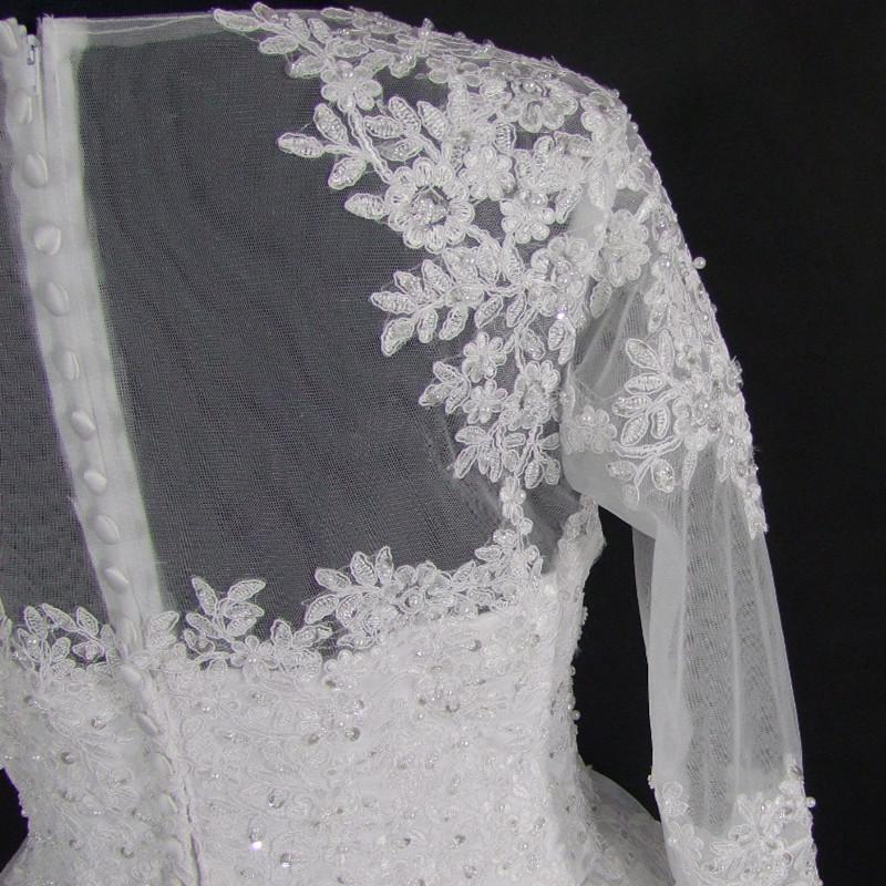 Wedding Dress Vintage Bohemian Lace Long Sleeve Ball Gown Wedding Dresses 2017 Luxury Pearls White Bridal Dress Vestido De Noiva 6