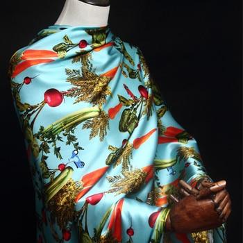 Vegetable digital stretch silk satin fabric soft shirt dress silk stretch fabric satin catwalk natural silk fabric cloth