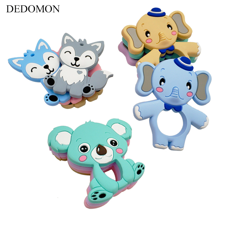 Food Grade Silicone Teethers DIY Animal Koala Baby Ring Teether Infant Baby Silicone Chew Charms Kids Teething Gift Toddler Toys(China)