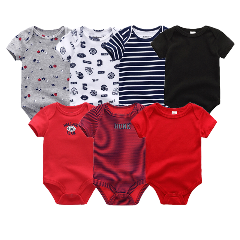 2018 7Pcs/Lot Uniesx Baby Girls Clothes Baby Rompers Boys Cotton O-Neck 0-12M Newborn clothing Sets Short Sleeve Roupa de bebe