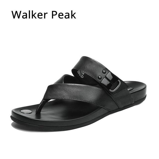12dee4490 Walker Peak Genuine Leather Men Slippers Flip Flops Men Slides Fashion  Casual Flip Flop Slippers Summer