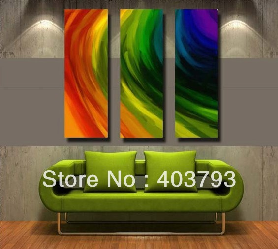 Aliexpress Com Buy Free Shipping 3 Piece Wall Decor: Rainbow 3 Piece Canvas Wall Art Abstract Oil Paintings