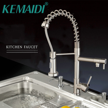 KEMAIDI UK Hight Quality Kitchen Flexible Pull Down Dolid Brass Brushed Nickel Basin Sink Swivel Faucet Single Handle Tap