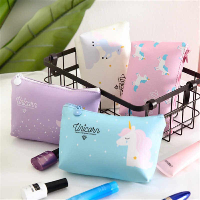 e9cb2afad0aa Cute Unicorn Cosmetic Bags Kawaii Cartoon Makeup Bag Pencil Case ...