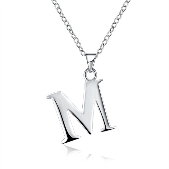 2017 new letter necklaces pendants alphabet initial necklace silver 2017 new letter necklaces pendants alphabet initial necklace silver plated m choker necklace women jewelry aloadofball