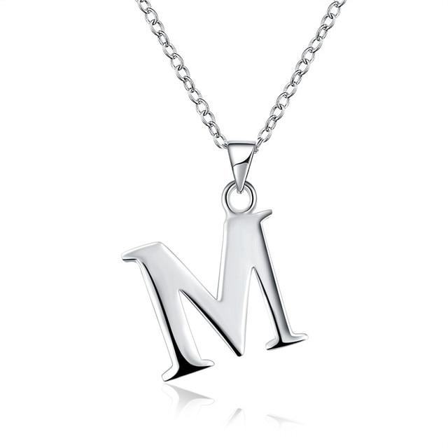 2017 new letter necklaces pendants alphabet initial necklace silver 2017 new letter necklaces pendants alphabet initial necklace silver plated m choker necklace women jewelry aloadofball Choice Image