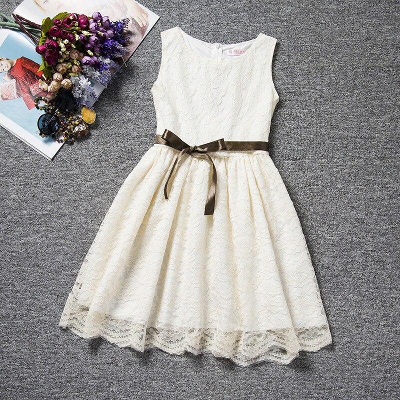 Verão Rendas Princesa vestido Da Menina de Comunhão Pageant Vestidos de Noite Elegante da Festa de Casamento Branco Meninas Roupas Desgaste Da Escola Casuais