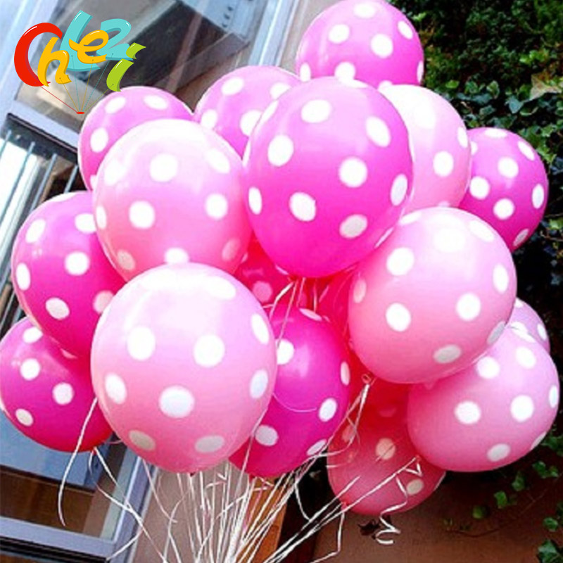 20pcs 12 Inch Polka Dot Latex Balloons Baby Birthday Wedding Decoration Supplies Minnie Mouse Party Supplies Balloons Multicolor