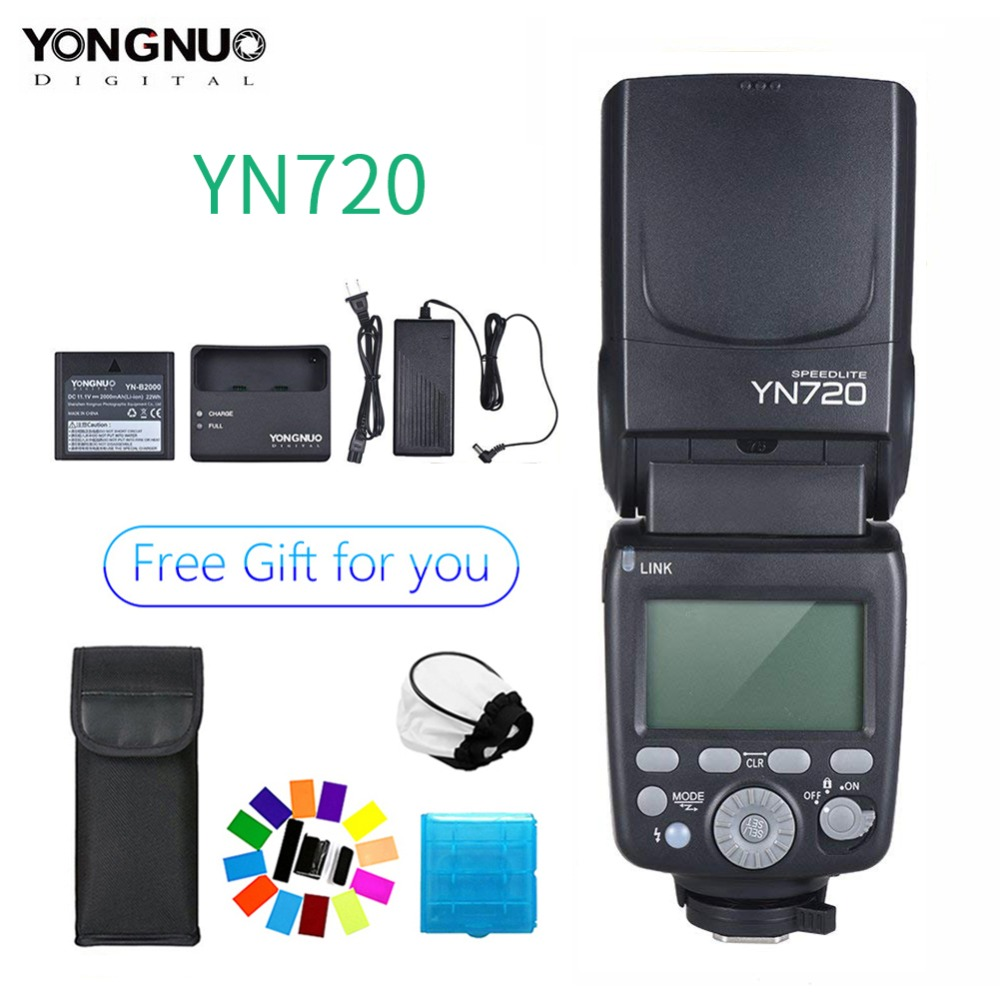 Flash 2018 Yongnuo Lithium Speedlite YN720 avec batterie 2000 mAh pour Canon Nikon Pentax, Compatible YN685 YN560 IV YN560-TX RF605