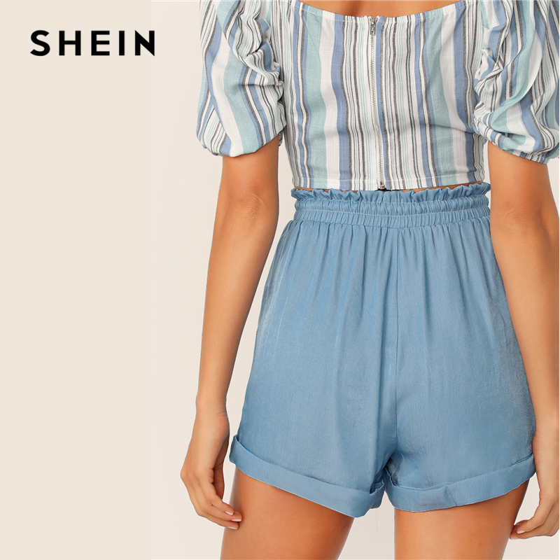 SHEIN Blue Drawstring Waist Cuffed High Waist Shorts Women Summer Autumn Elastic Frilled Waist Straight Leg Casual Shorts 2