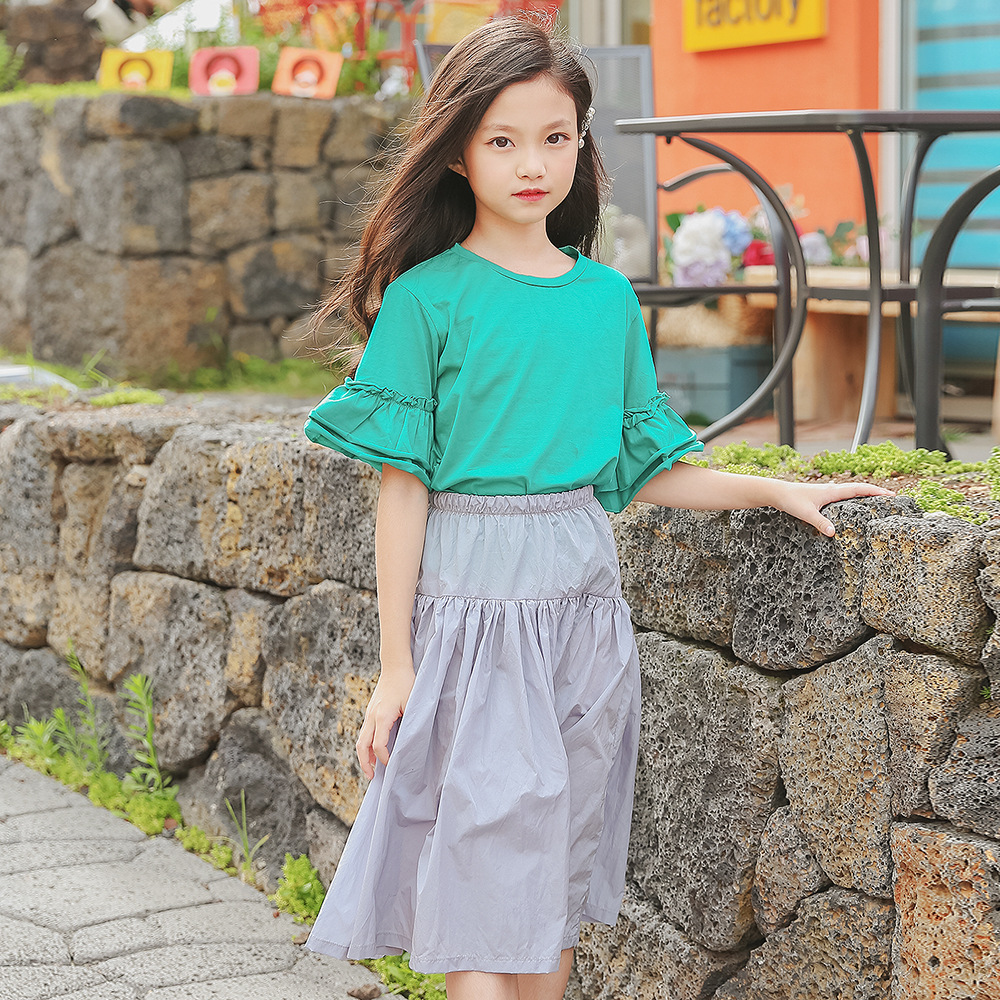 Girls dresses 2018 summer new girls trumpet sleeves t-shirt with skirt suit two sets of new children's clothing цены
