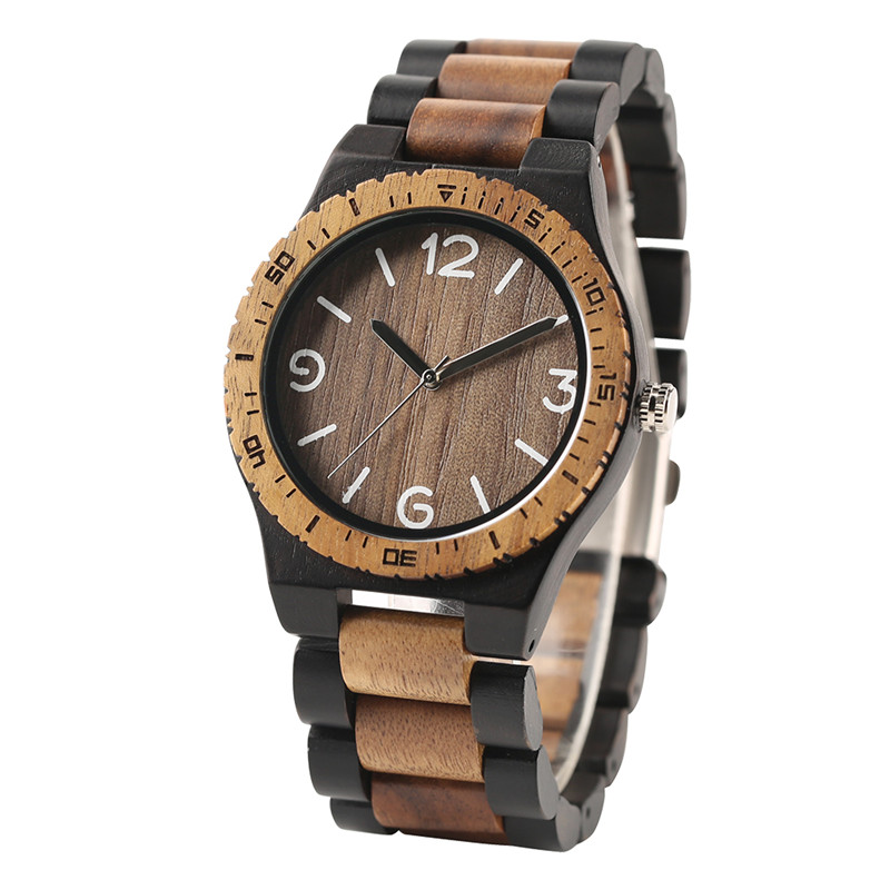 Novel Handmade Full Wooden Creative Men Bangle Quartz Wrist Watch Fashion Nature Bamboo Father's Day Gift simple handmade wooden nature wood bamboo wrist watch men women silicone band rubber strap vertical stripes quartz casual gift page 8
