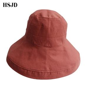 Image 5 - Double sided Beach Hats Women Summer Large Wide Brim Foldable Sun Hat Chapeau Female Girl Plain Anti UV Sun Visor Floppy hat