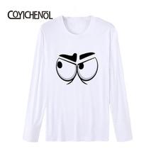 Funny design cartoon eyes printed tshirt men O-neck modal Man tops Printed long sleeve casual T-shirt homme COYICHENOL