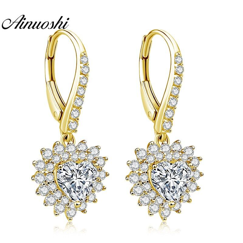 AINUOSHI 10K Solid Yellow Gold Heart Drop Earring Shinning CZ 1.6ct Heart Cut Click Back Earring Fine Women Jewelry Gifts