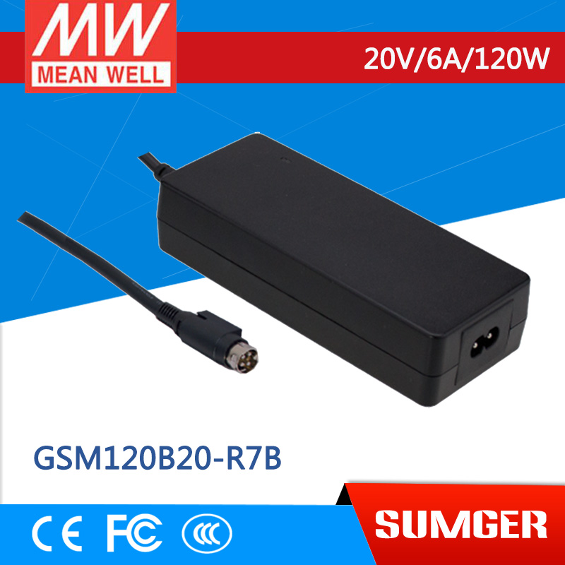 1MEAN WELL original GSM120B20-R7B 20V 6A meanwell GSM120B 20V 120W AC-DC High Reliability Medical Adaptor 1mean well original gsm160a24 r7b 24v 6 67a meanwell gsm160a 24v 160w ac dc high reliability medical adaptor