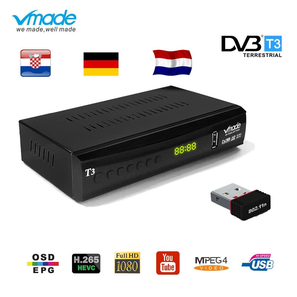 Vmade DVB T2 HD receiver 1080P Tv Tuner DVB T2 H 265 terrestrial receciver decoder Dvb-t2 set top box with USB WiFi support AC3