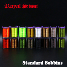 Royal Sissi 8spools set 75D high tensile fly tying thread with standard bobbin 250yds/spool hybrid filaments 8/0 waxed thread