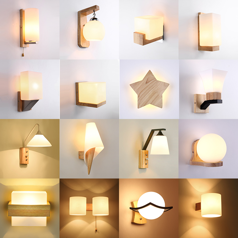 Nordic Solid Wood Led Wall Lamp Lustre Glass Living Room Led Wall Light Fixtures Bedroom Led