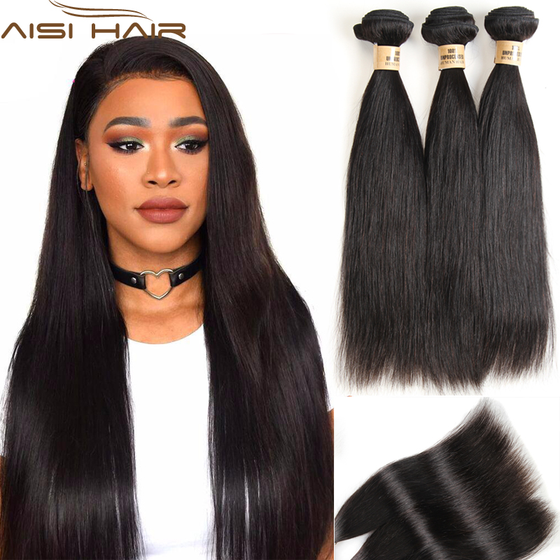 AISI HAIR 3 Bundles Straight Hair Natural Black Color Brazilian Straight Human Hair Weave 100% Human Hair Extension