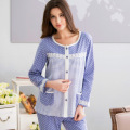 New Arrive Leisure Pajamas Full Sleeve Couples 100% Cotton Homewear Suit