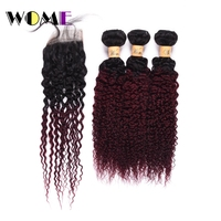 Wome Ombre Hair Two Tone Color Mongolian Kinky Curly Hair Bundles With Closure T1B/99J Human Hair Weaving Curl Hair Extensions