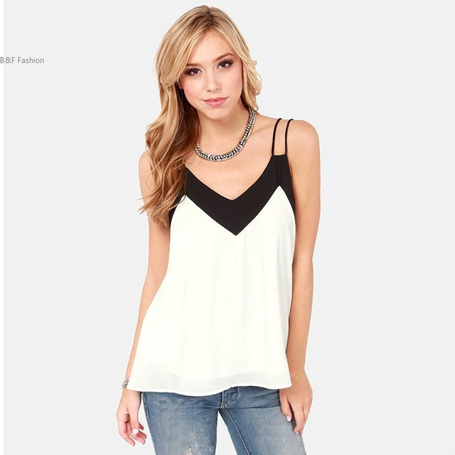 a2afdcdc Summer style Women Blouses Camisole Chiffon Vest Top Female Sleeveless  Basic Solid Tops white