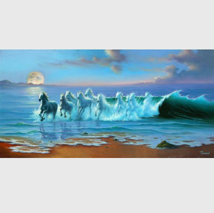 108*60cm Precise Printed horses running Sea DIY Home Decor Handmade Needlework Cross Stitch Set Cross Stitching Embroidery Kit-in Package from Home & Garden    1