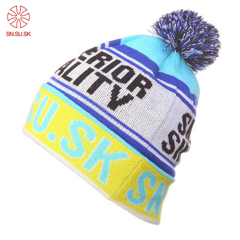 SN.SU.SK Autumn Winter Skating Men's Hats Thicken Ski Hat 2019 Men Knitted Warm Cap Hip Hop Bonnet Beanies For Men Women
