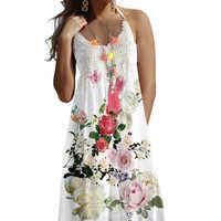 2019 mujeres Sexy Boho Lace Vintage flores sin mangas playa estampado verano vestido mujeres vestidos túnica Mujer sukienki