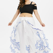 Wipalo Plus Size Summer Women Casual Print Skirted Oversize Pants Overlength High Waist Wide Leg Loose