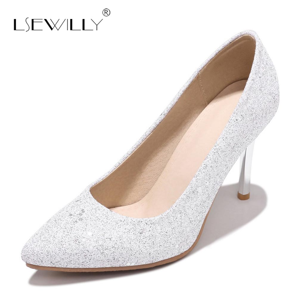 Lsewilly Brand high heels Bling women pumps Fashion pointed toe Slip On wedding Party shoes Spring Summer OL shoes Woman S412