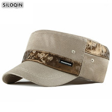 SILOQIN Summer Womens Ponytail Breathable Mesh Hat Army Military Hats Mens Flat Cap Adjustable Head Size Fashion Sports Caps