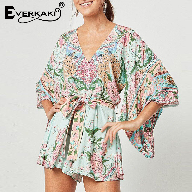 167cde8ee8de Everkaki Women Boho Rompers Summer Lotus Floral Print Playsuits With Sashes  High Waist Gyps Bohemia Bodysuit