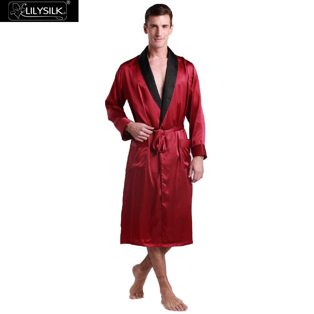 b18b864354 LilySilk Robe Sleepwear Kimono Men Pure 100 Silk 22 momme Long Sleeve  Contrast Collar Luxury Natural Free Shipping