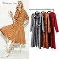 2017 nova primavera roupas femininas gola mandarim moda breve marca de veludo corda do arco sólido magro sexy a-line dress s-l
