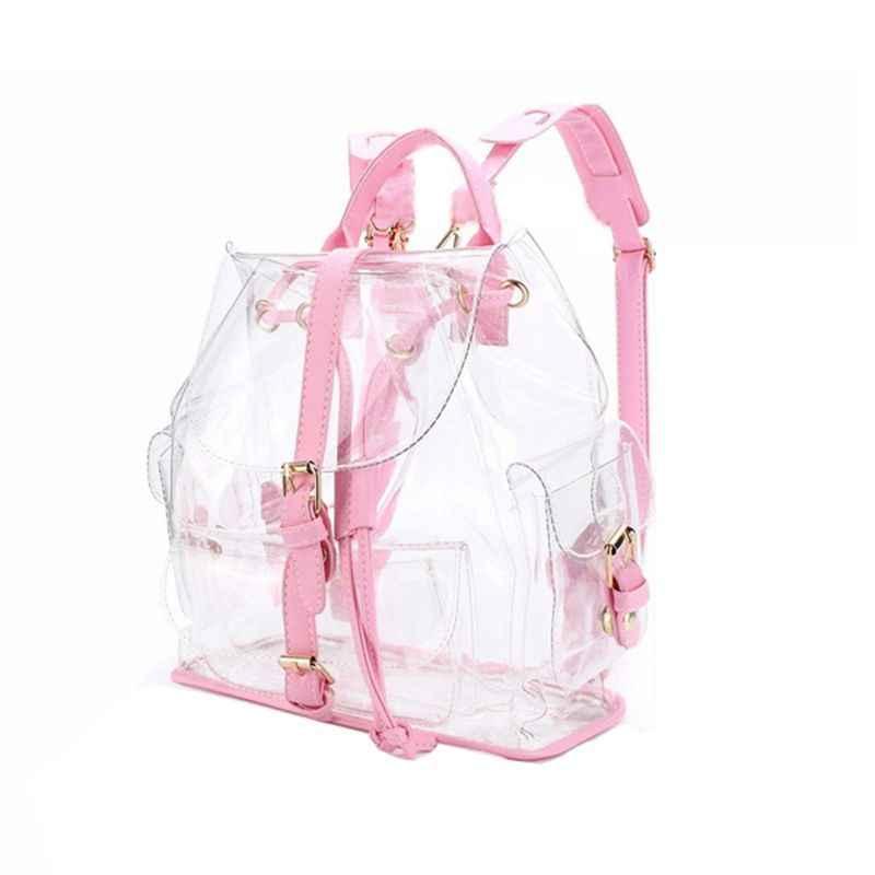 1164ca1b5ac8 Новая мода для девочек розовый прозрачный милый водостойкий ПВХ прозрачный  Рюкзак Школьная Сумка Дорожная сумка (