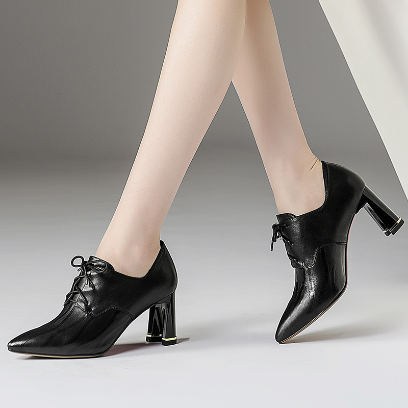 2019 Famous brand natural top layer cowhide with women 39 s single shoes fashion pointed with high heel leather shoes women in Women 39 s Pumps from Shoes