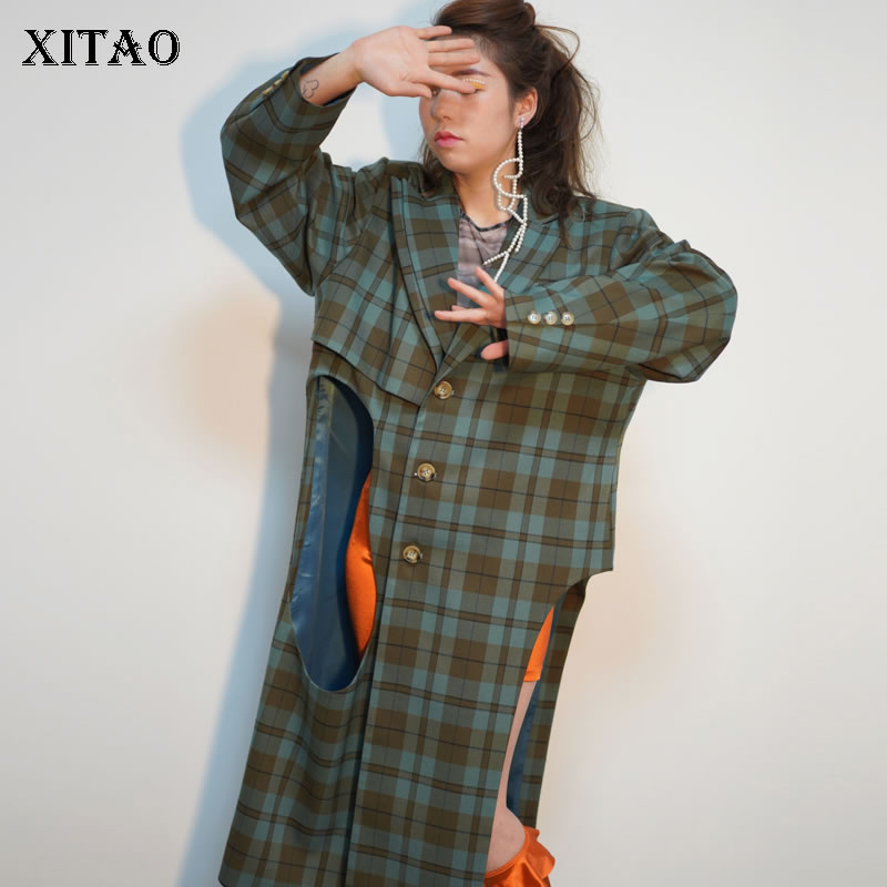 [XITAO] Asymmetrical Plaid Long Women   Trench   Spring Europe Fashion Full Sleeve Turn-down Collar Button Hollow Out Coat WBB1623