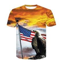 Animal T shirt 3d eagle American flag print summer T shirt male female plus size T shirt male Camiseta Dropship