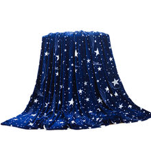Hot Bright stars bedspread blanket 200x120cm High Density Super Soft Flannel Blanket to on for the sofa/Bed/Car Portable Plaids(China)
