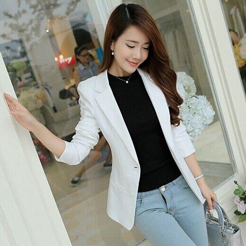 Xmas J40718 белый для женщин Пиджаки для и куртки Новый демисезонный Мода одной кнопки блейзер Femenino дамы Блейзер Женский