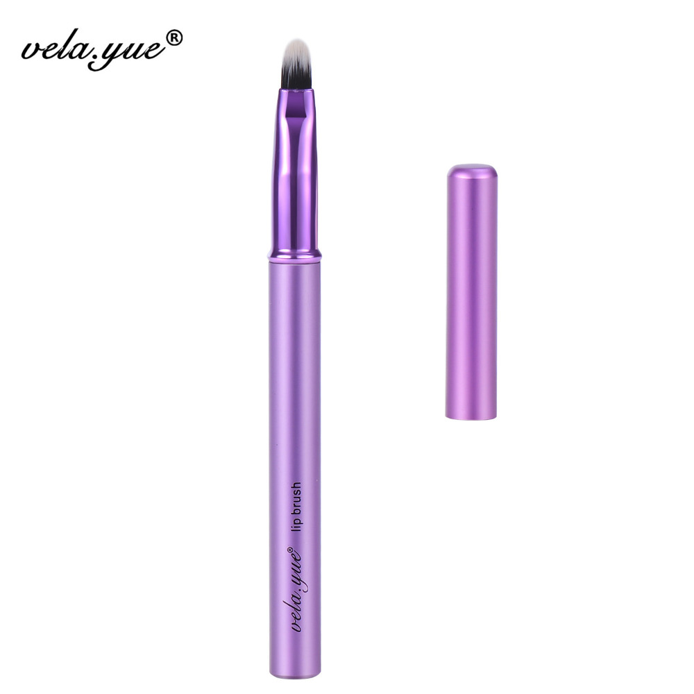 vela.yue Läppborste Läppstift Kosmetika Skönhetsverktyg Violett aluminiumhandtag med lock