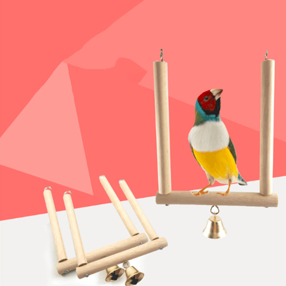 Natural Wood Bird Swing For Budgie, Canary Finch Caged Bird Toy Pet Parrot Bite Standing Training Creative Toys